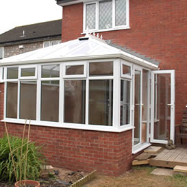Edwardian conservatory with french doors