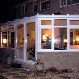 Lean to conservatory in white