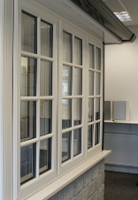 uPVC windows with Georgian bars in Majestic Designs' double glazing showroom in Cheddar