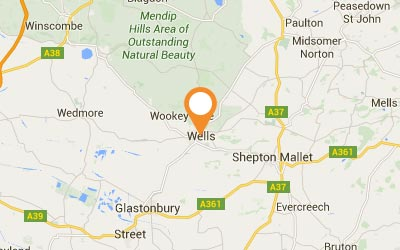 A map to show Wells and the surrounding areas