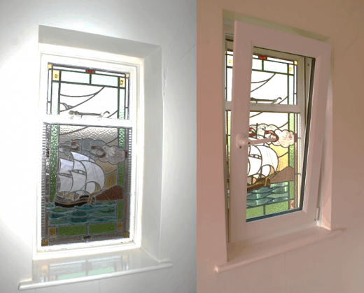 a before and after shot of feature window