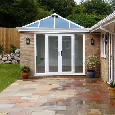 Conservatory with patio doors