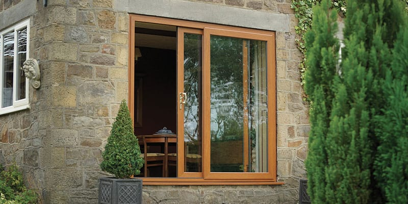 Oak effect uPVC Patio Door