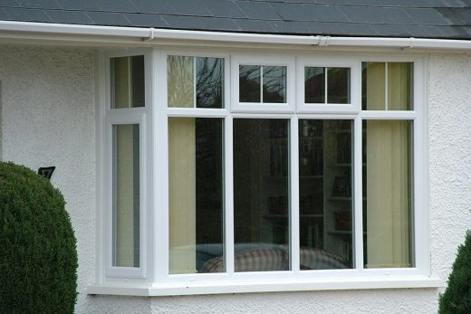 Close up of a white uPVC bay window