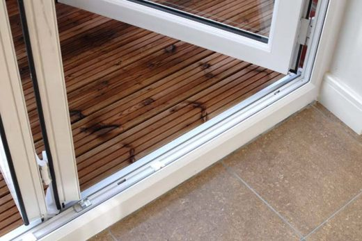Close up of a uPVC bifold door