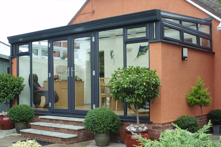 Black uPVC Lean To conservatory installation