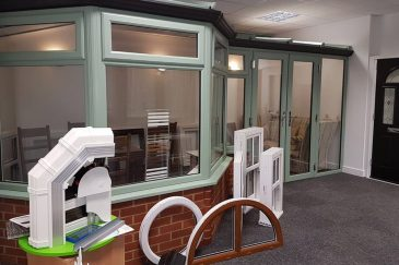 Majestic Designs showroom with a chartwell green conservatory