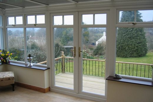 Interior view of white uPVC french doors