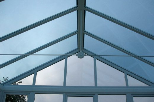White uPVC gable conservatory roof
