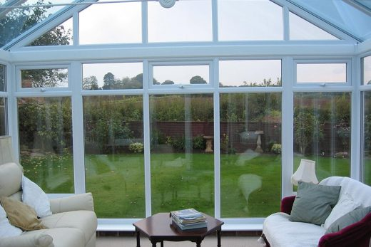 Interior view of a white uPVC gable conservatory