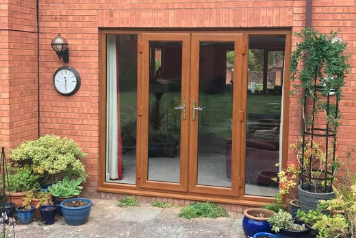 Golden oak effect uPVC french door