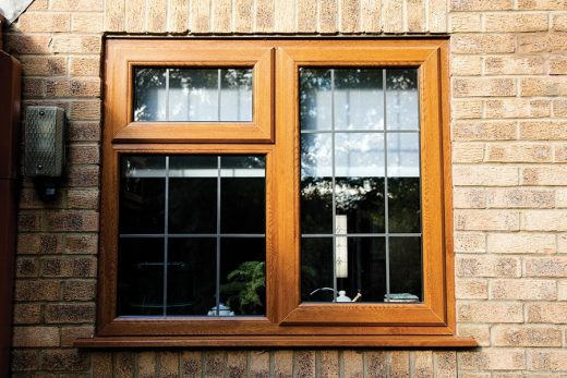 Golden oak effect uPVC leaded casement window
