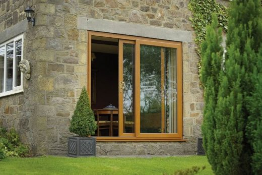 Irish oak effect uPVC sliding patio door