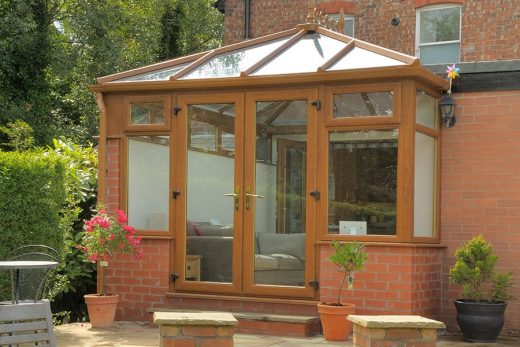 Golden oak effect uPVC Edwardian conservatory