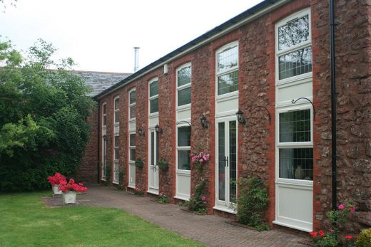White uPVC casement windows installation