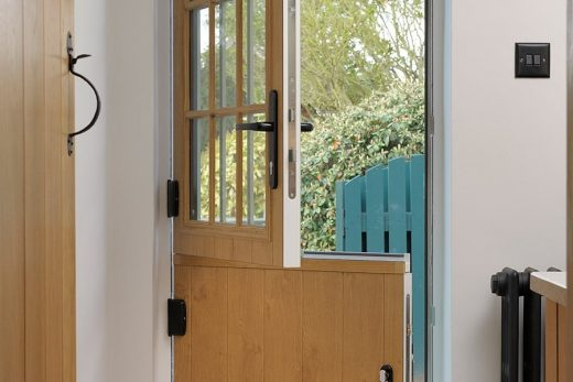 Irish oak effect composite stable door open