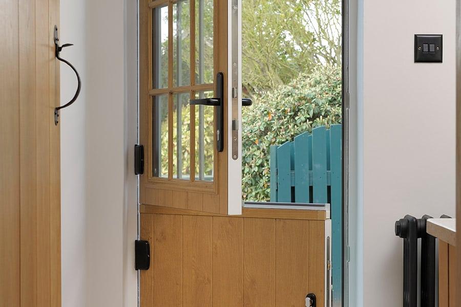 Irish oak effect composite stable door open
