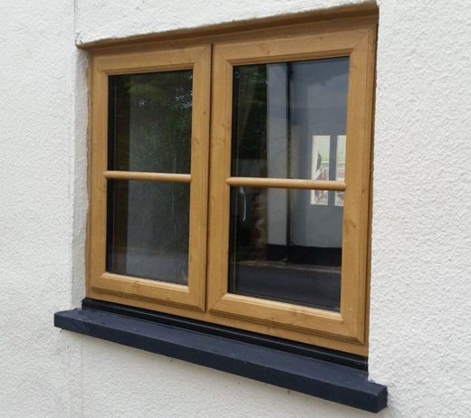 Irish oak effect uPVC casement window