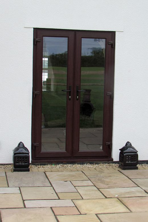 Rosewood effect uPVC french door