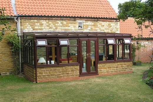 Rosewood effect uPVC lean to conservatory