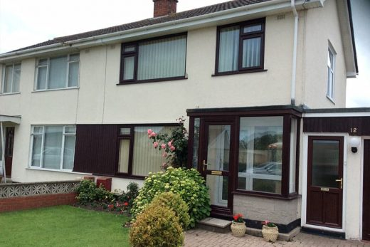 Rosewood effect uPVC casement windows