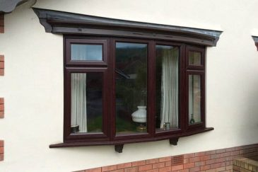 Rosewood uPVC bow window