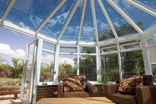 Interior view of a white uPVC victorian conservatory