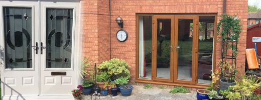 White And Golden Oak French Doors