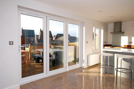 Interior view of a white uPVC bifold door