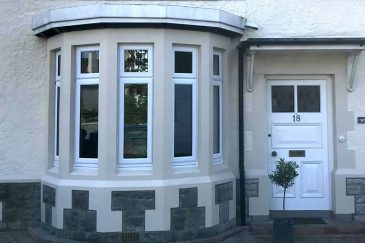 White uPVC bow window