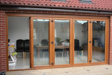 Golden oak effect uPVC bifold door