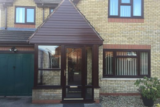 Rosewood uPVC entrance door and porch