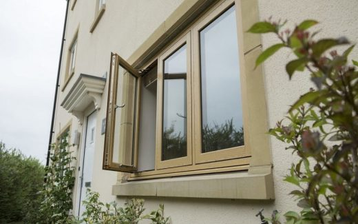Irish oak effect flush sash windows