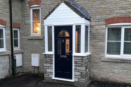 uPVC porch with a black entrance door