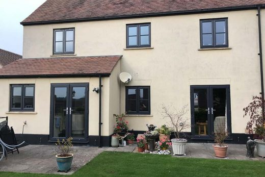 Black uPVC casement windows