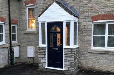 uPVC White Porch With Black Door